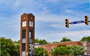 The Clock Tower on South Main Street in Simpsonville was donated to the City by former Mayor Ralph Hendricks in 1987.